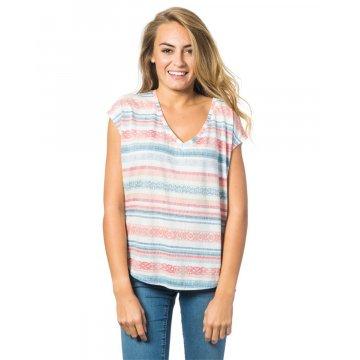 Tee Shirt Manches Courtes Rip-Curl Gracia Bleu/Blanc/Rose